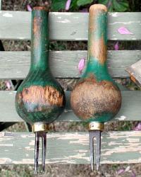 Antique Hand Carved Ball Weeder Garden Tool