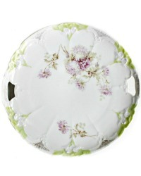 German Porcelain Cake Plate with Lavender Purple Mums