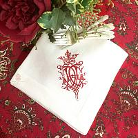 European Luxury Linen Royal Crest Embroidered Napkin Red Set of 4