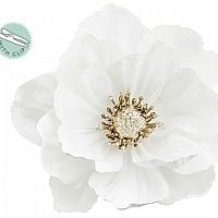 Holiday White Anemone Flower with Clips Set of 4