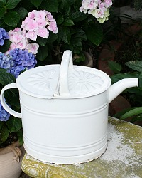 Antique French White Enamelware Watering Can