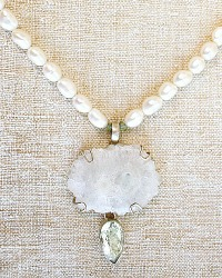 White Agate and Amethyst Sterling Pearl Necklace