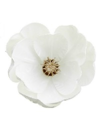 Holiday White Magnolia Flower with Clips Set of 4