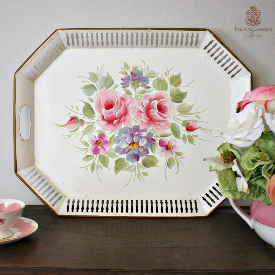 Vintage White Toleware Tray Tole Floral Bouquet Roses
