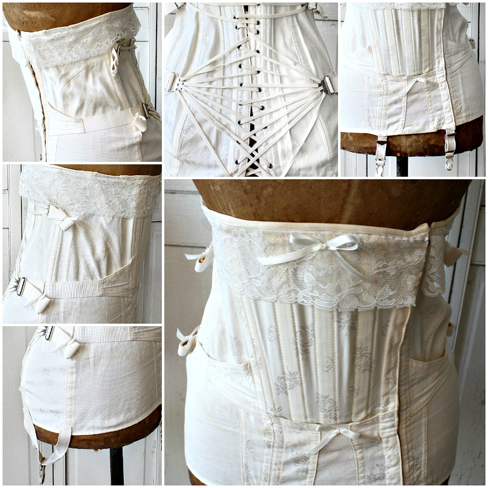 Vintage White Rose Floral Fan Lacing Corset with Lace