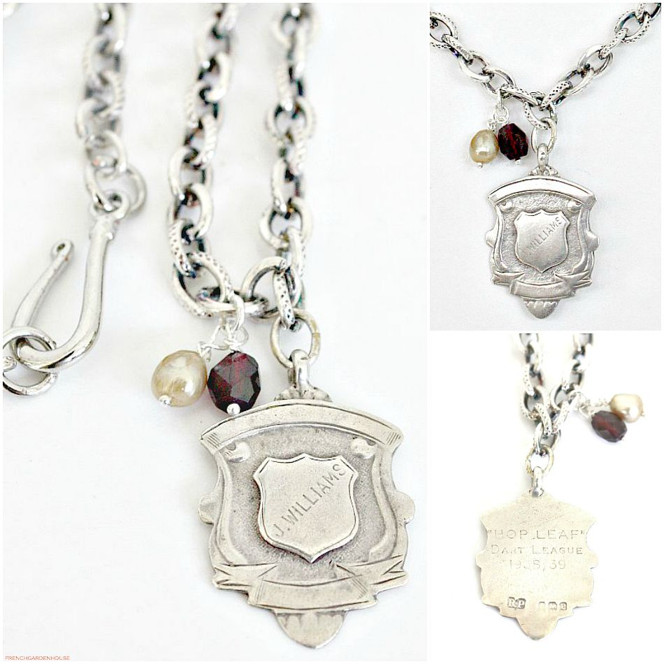 Heirloom Estate Sterling Darts Award Fob Necklace with Pearl and Garnet