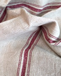 Antique Hand Woven French Linen Towel Wine Stripe