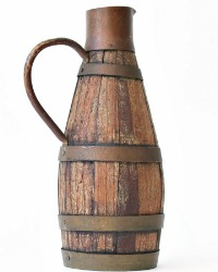 Antique French Vineyard Wooden Oak Stave Wine Pitcher or Carafe