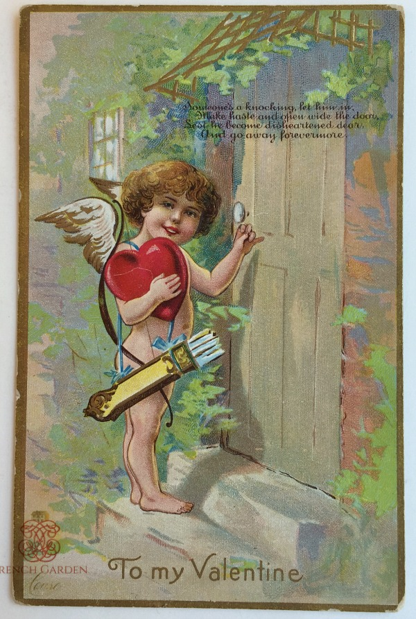 Antique Winsch Valentine Postcard Cherub and Heart