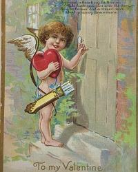 Antique Winsch Valentine Postcard Cherub and Heart