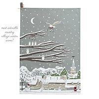 Winter Holiday Owl Tea Drying Towel