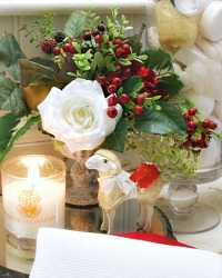 Blanc Rose and Red Hydrangea Holiday Arrangement