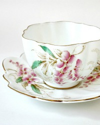 Vintage Hand Painted Signed Paragon Wistaria Tea Cup & Saucer