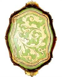 Vintage Italian Florentine Wood Gesso Gilt Tray Green