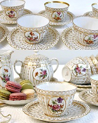 Antique Hand Painted Gilt & Floral Tea Cups & Saucers Set of 6 Creamer, Sugar Bowl