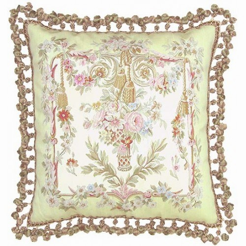 Vintage Aubusson Silk Soft Green Floral Basket Pillow