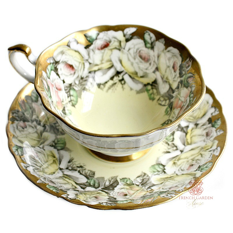 Vintage Paragon Teacup and Saucer Pale Yellow Pink Rose Gold Garland
