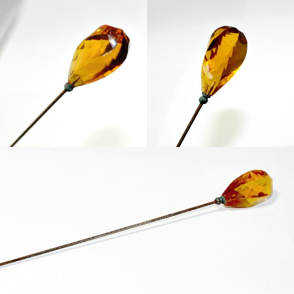 Antique Amber Citrine Faceted Glass Hat Pin