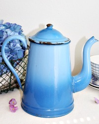 Antique French Country Blue Enameled Coffee Pot Large