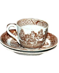 Antique Brown Staffordshire Aesthetic Transfer Children's Tea Cup TRIO