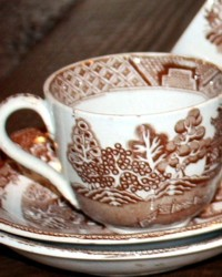 Antique Brown Willow Transferware Edge Malkin & Co Children's Tea Cup & Saucer TRIO
