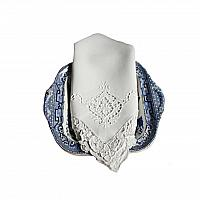 Antique White Linen and Point de Venise Lace Napkins Set of 8