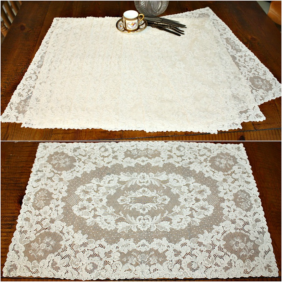 Exceptional Antique French Alencon Ivory Lace Placemats Set of 12