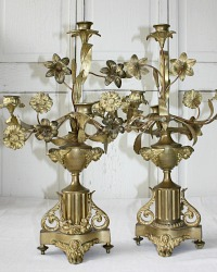 Antique French Gilt Floral Altar Four Light Candelabra Pair