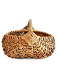 Antique Miniature Oak Wood Woven Rib and Split Buttocks Basket