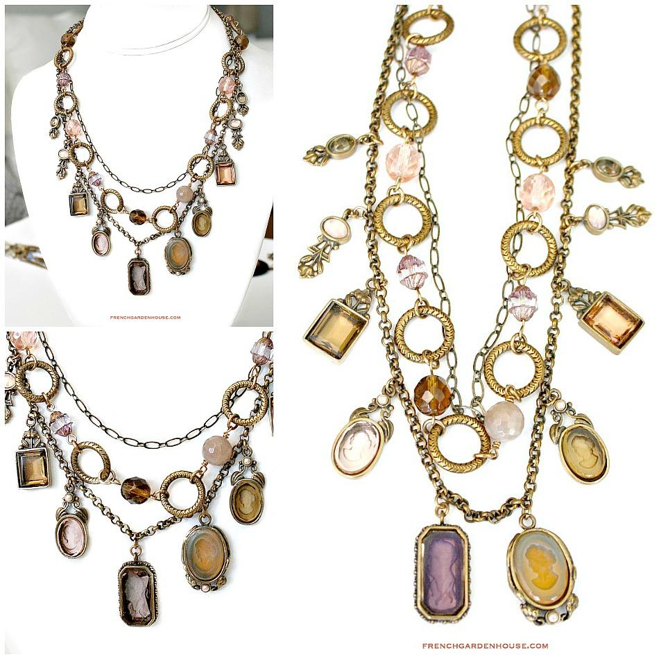 Extasia Arts and Crafts Opalescent Intaglio Necklace