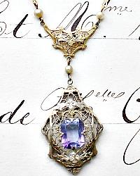 Antique Amethyst Pendant Necklace