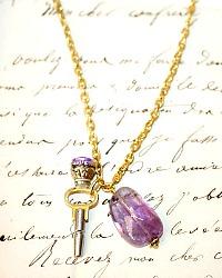 Antique Victorian Watch Key with Lavender Amethyst Gemstone Necklace