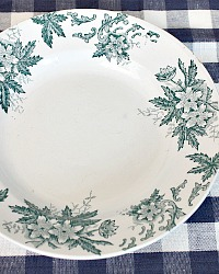 Antique French Faience Transferware Bowl Anemone Teal Blue