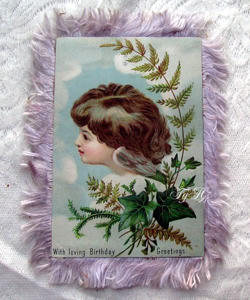 Antique Double Image Victorian Silk Fringe Birthday Card Angels