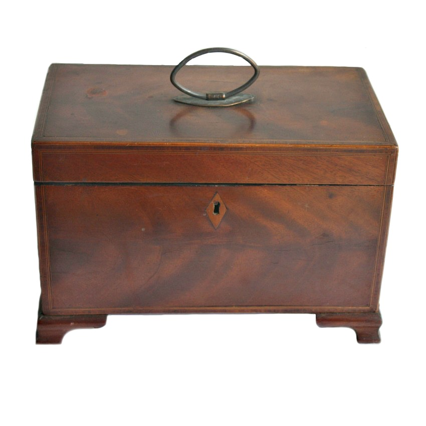 Antique Wood Inlaid Tea Caddy