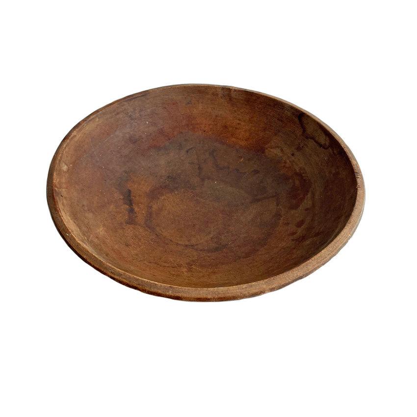 Large Antique Turned Wood Bowl