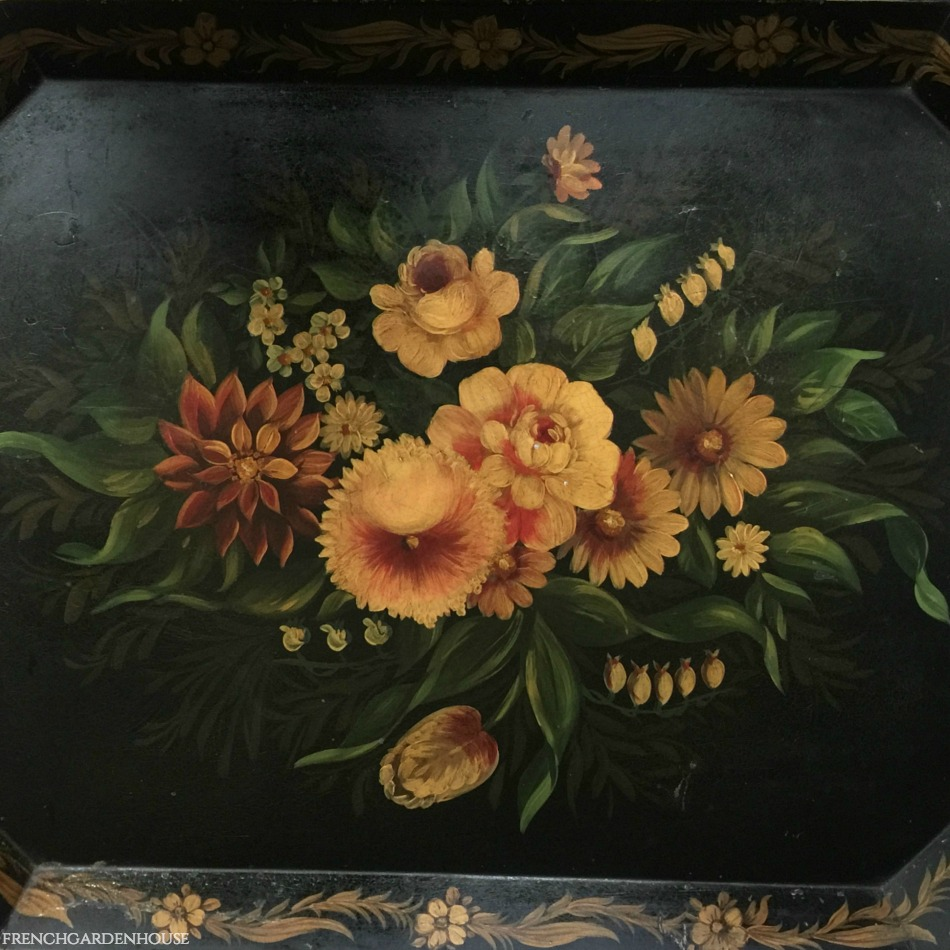 19th Century Hand Painted French Country Tole Tray Black Floral