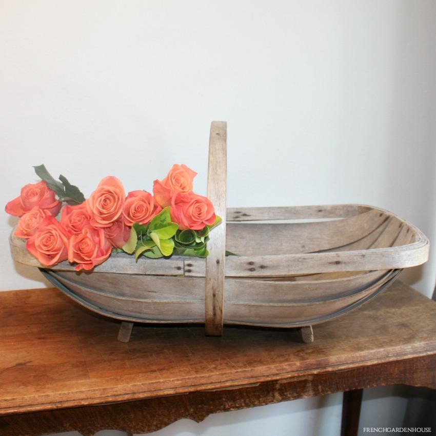 HUGE Antique French Gardening Gathering Basket or Trug