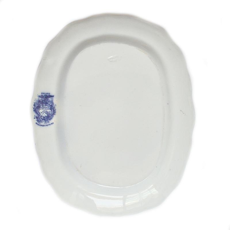 Antique Flow Blue Scenic Serving Platter