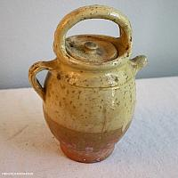 Antique French Glazed Terra Cotta Jug or Water Cruche Yellow