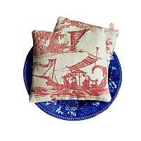 Chinoiserie Linen Lavender Sachet Pillow