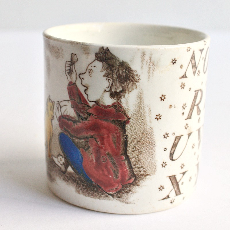 Antique Child's Alphabet ABC Mug Nursery Jack Horner