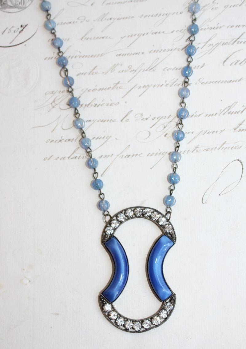 L'Heure Bleu Vintage Art Deco Necklace