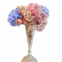 Antique White Trumpet Barbola Wedding Vase with Pink Gesso Rose