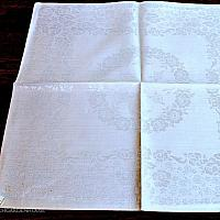 Luxury Belgian Cream Damask Roses Napkin Set of 6