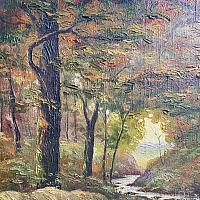 French Signed Oil Landscape Painting Autumn Woods