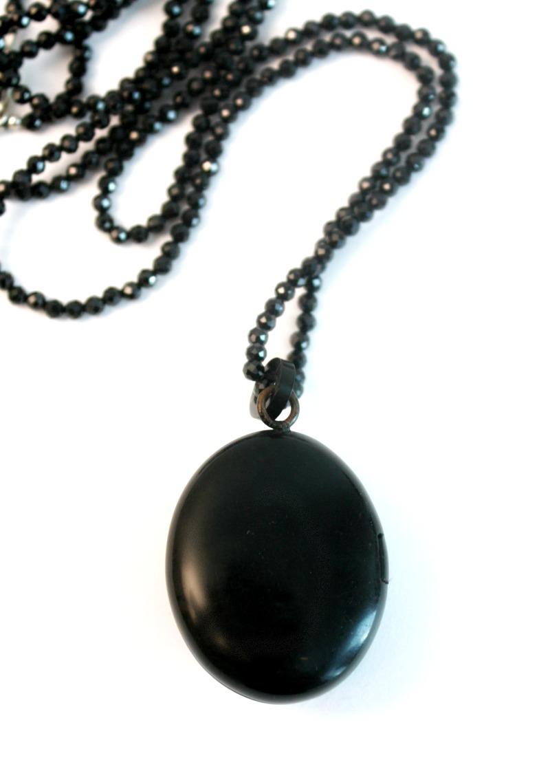 Antique Heirloom Black Mourning Locket Cross