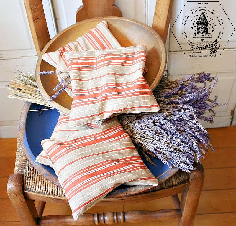 Antique French Ticking Lavender Sachet Red Striped Cafe au Lait