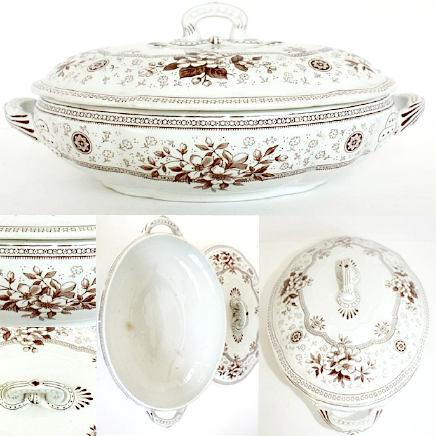 19th Century Brown Ironstone Aesthetic Tureen