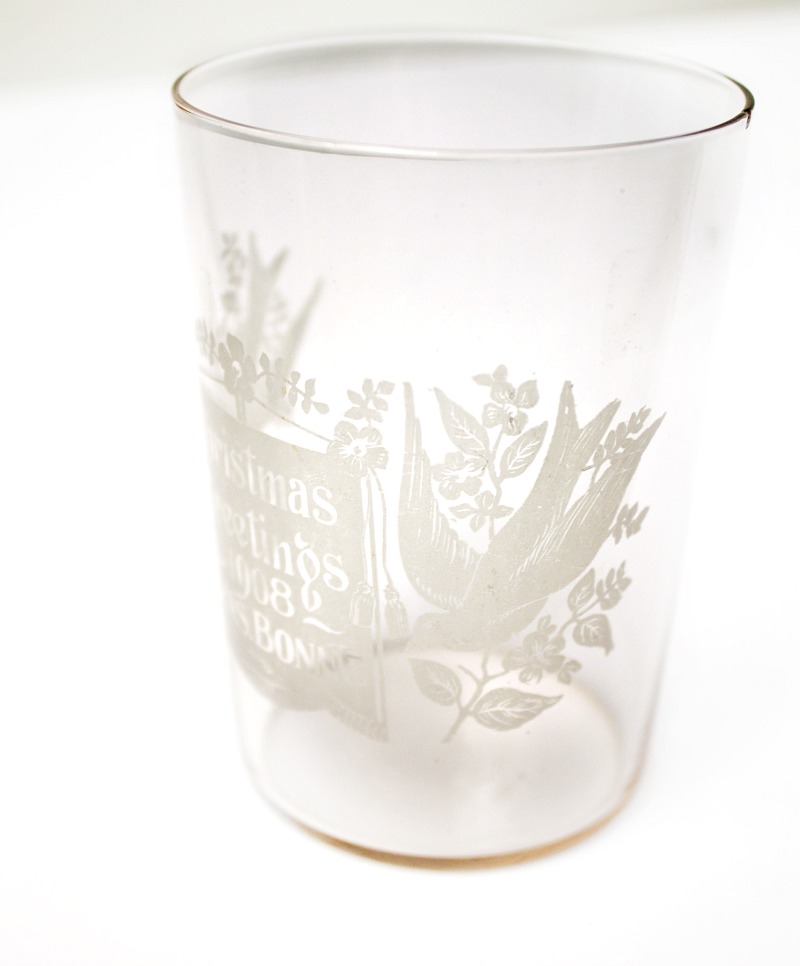 Antique Etched 1908 Christmas Advertising Drinking Glass